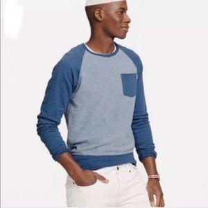 J. Crew men's heather blue color block sweatshirt